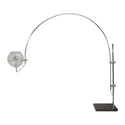 "Nuevo Living - Grand Bend Floor Lamp by Nuevo - HGSL137 - The Grand Bend floor lamp features a chrome steel bar and movable arm.  It also has a 15"" diameter glass shade with an and an inline dimmer switch.  The marble base is 19.5"" x 18.5"".  The cord length is 120""."