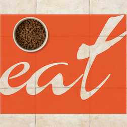 "Sniff It Out Designer Pet Mats - Graphic Word ""Eat"" Pet Food Mat, 26 X 20.5 - Premium-quality clear vinyl mats uniquely designed to resemble beautiful art painted directly onto your floor. The smoothness of the vinyl allows for easy cleanup and lays perfectly flat. Sniff It Out Pet Mats make great gifts and will be a conversation piece that your friends and family won't stop talking about. Made in the USA."