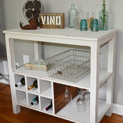 Reclaimed Wood Wine Stand - This piece was custom made for someone to display his record and wine collection. We handmade this using reclaimed barn wood, salvaged wine crates and shelving lumber reclaimed from a home in Pittsburgh, PA.