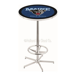 Holland Bar Stool - Holland Bar Stool L216 - 42 Inch Chrome Maine Pub Table - L216 - 42 Inch Chrome Maine Pub Table  belongs to College Collection by Holland Bar Stool Made for the ultimate sports fan, impress your buddies with this knockout from Holland Bar Stool. This L216 Maine table with retro inspried base provides a quality piece to for your Man Cave. You can't find a higher quality logo table on the market. The plating grade steel used to build the frame ensures it will withstand the abuse of the rowdiest of friends for years to come. The structure is triple chrome plated to ensure a rich, sleek, long lasting finish. If you're finishing your bar or game room, do it right with a table from Holland Bar Stool.  Pub Table (1)