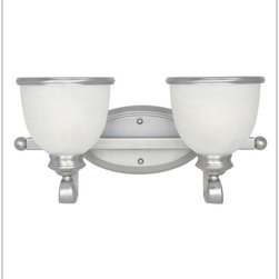 Savoy House - Savoy House-8-5779-2-69-2 Light Bath Bar - A builder's dream versatile and polished in Pewter with white marble glass (topped off with a pewter rim). The perfect match for today's popular stainless steel appliances.