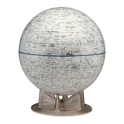 Replogle Globes - White 12 Inch Moon Globe w Contemporary Cradle Stand - This extraordinary 12 in. diameter globe accurately depicts the geographical features of the Earth's moon, including craters, seas and mountain ranges. NASA approved. Diameter: 12 in.. 12 in. L x 12 in. W x 14 in. H (1.6 lbs.)