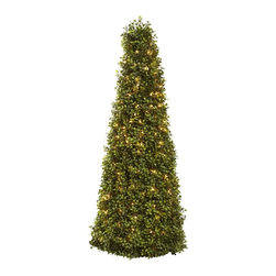 """39"""" Boxwood Cone with Lights - One of our favorite shrubs is the boxwood. That's because it's the ideal """"shaping"""" plant. With its tiny, lush evergreen leaves densely surrounding its supporting twigs, the Boxwood conforms to almost any sculpted shape. And in this case, we've chosen a cone shape. At 39' in height, it stands tall and proud. But wait ' there's a surprise ' it comes complete with lights to delight all viewers. Makes an ideal addition to any room or office, and makes a great gift as well. Height= 39 In. x Width= 16 In. x Depth= 16 In."""