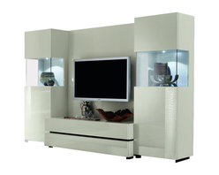 Rossetto - Rossetto Nightfly TV Wall Unit in White - Rossetto - Entertainment Centers - R413900000068 - The TV element develops and renews in equipped wall unit to compose according to your own needs the back takes in the television the bases contain all the technological accessories and