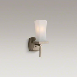 KOHLER - KOHLER Margaux(R) wall sconce - Margaux combines traditional, elegant lines with contemporary touches. This single wall sconce can be positioned facing up or down for a variety of creative lighting options, and reflects the sleek style of Margaux faucets and accessories. Available in an