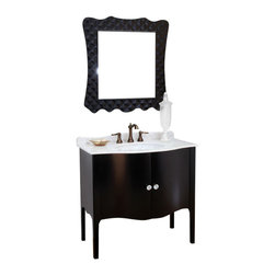 Bellaterra - 36.6 In Single Sink Vanity - Wood - Black  - White Marble - Constructed of solid wood, this traditional bathroom vanity is an exquisite design. Curved cabinet front and door panels  with rich black finish brings luxurious look. Crystal door knob adds glamorous look to any bathroom. Vanity dimension: 36.6Wx22Dx36H * ** * Birch* Black*White Marble* White Ceramic Sink* Genuine crystal door knob* Pre-drilled with 3 holes- 8 in. center faucet, Faucet and mirror not included* No Assembly Required. Dimensions: 36.6 in. x 22 in.
