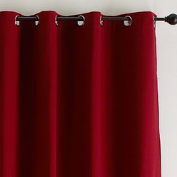 "Cameron Grommet Drape, 50 x 63"", Cardinal Red - Our Cameron Collection is crafted with exceptional attention to detail and offers an incredible value. 50"" wide Thickly woven cotton provides excellent light filtration and privacy. Unlined drape is perfect for dressing a window, dividing a room or draping a doorway. Hangs from grommets, eliminating the need for hooks or rings. Features bronze-finished grommets. Watch a video on {{link path='/stylehouse/videos/videos/h2_v1_rel.html?cm_sp=Video_PIP-_-PBQUALITY-_-HANG_DRAPE' class='popup' width='420' height='300'}}how to hang a drape{{/link}}. Catalog / Internet Only. Imported. Dry-clean only."