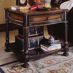 Hooker Furniture - Preston Ridge Square Lamp Table - Traditional style. One drawer and shelf. Levelers. Made from hardwood solids with cherry veneers. Black rub-through finish with physical distressing. Top: 28 in. L x 28 in. W. Top thickness: 1 in.. Drawer inside: 19.63 in. W x 20.13 in. D x 3.25 in. H. Drawer outside: 21.38 in. W x 22 in. D x 4.75 in. H. Stationary shelf area: 24.5 in. W x 24.5 in. D x 14.5 in. H. Feet height: 3 in.. Overall: 28 in. W x 28 in. D x 25 in. H. Assembly Instruction