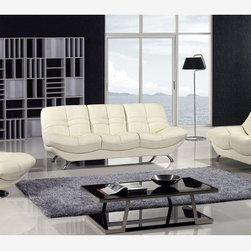 3 PC Modern Ivory Bonded Leather Couch Sofa Loveseat Swivel Chair Set - Model Mina. Modern leather sofa set available in Ivory or Red colors. This sofa set made from high quality leather, solid wood frame construction and chrome legs. All of the seats and backs are high density (1.9) foam to give your body comfort and support. Only solid hardwood products are used in the frame construction. All corners are blocked, nailed, and glued for strength and durability.