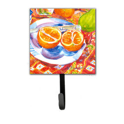 Caroline's Treasures - Florida Oranges Sliced For Breakfast  Leash Holder Or Key Hook - The Single Hook Leash Holder measures 4.25 inches wide by 7 inches high. The tile is made from a hardhoard and is mounted to a metal rectangle. The hook hangs down from the metal plate in the back and is about 2 1/2 inches from the base. The hook opens about 1 inch. A hanger is attached to the metal plate and is about 1 1/2 inches long. Lots of room to hang up using a screw or paneling nail. Great for the home or office to hold keys, leashes or just about anything.