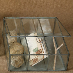 Pierre Divided Case - Square - Showcase a classic collection on a mantelpiece or windowsill with ease when you use the Pierre Divided Case, a square glass box built in�five sections to sequester the contents.� Whether you employ this elegant�alternative to the clear container as a functional piece or for decorative purposes, its organizing capacity and transparent walls will ease the path to a sensible, attractive arrangement.�