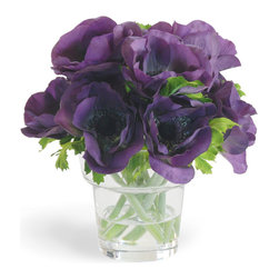 Winward Designs - Anemome In Vase Purple Flower Arrangement - Our arrangement in deep purple could serve as a conversation piece in a room of neutral colors, or a perfect contribution to a room of blues and purples.