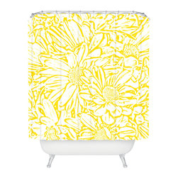 DENY Designs - Lisa Argyropoulos Daisy Daisy In Golden Sunshine Shower Curtain - Who says bathrooms can't be fun? To get the most bang for your buck, start with an artistic, inventive shower curtain. We've got endless options that will really make your bathroom pop. Heck, your guests may start spending a little extra time in there because of it!