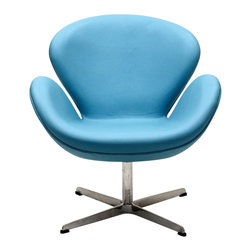 East End Imports - Wing Chair in Aniline Leather Baby Blue - The Wing Chair can be used as a lounger or as an office chair. It is elegantly designed, made to add a luxurious modern style to any office, reception area or living room.