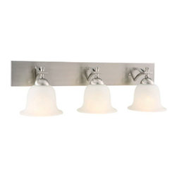 DHI-Corp - Ironwood 3-Light Energy Star Vanity Light, Satin Nickel - The Design House 515692 Ironwood 3-Light Energy Star Vanity Light is made of formed steel, snow glass and finished in satin nickel. Energy Star qualified, this 3-light vanity is rated for 120-volts and uses (3) 13-watt GU24 compact fluorescent lamps. This wall mount's petite design mounts seamlessly to the wall without a chain or visible wires. Measuring 8-inches (H) by 26.75-inches (W), this 7.81-pound fixture can be mounted facing up or down depending on location and preference. Curved steel accentuates the soft glass to create an elegant accent in a bathroom. Energy Star products meet strict energy efficiency guidelines set by the U.S. Environmental Protection Agency and the U.S. Department of Energy to maintain a greener home. This product is UL and CUL listed and suitable for damp locations. The Ironwood collection features a beautiful matching chandelier, vanity light, ceiling mount and mini pendant. The Design House 515692 Ironwood 3-Light Energy Star Vanity Light comes with a 2-year limited warranty that protects against defects in materials and workmanship. Design House offers products in multiple home decor categories including lighting, ceiling fans, hardware and plumbing products. With years of hands-on experience, Design House understands every aspect of the home decor industry, and devotes itself to providing quality products across the home decor spectrum. Providing value to their customers, Design House uses industry leading merchandising solutions and innovative programs. Design House is committed to providing high quality products for your home improvement projects.