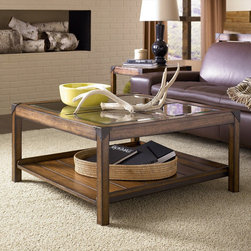 """Hammary - Studio Home Square Cocktail Table in Oak Finish - """"If you enjoy unique style with an urban edge, the mission-style Studio Home living collection is just your type. Each piece is finished in a warm, weathered oak for a natural, soothing brown color palette with matching metal accents giving a trendy, industrial style. Featuring a full set of occasional tables, bookcase pieces, and a large architect desk, this collection not only brings you style, but convenient storage and display room for your living room, home office, and bedroom. Whether you are decorating your loft, apartment, or home, the Studio Home living collection can be interpreted anyway you want to effortlessly enhance the unique beauty of your interior space."""
