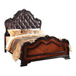 ACME Furniture - Acme Le Havre King Panel Bed with Button Tufted Headboard in TwoTone Brown - With the look of a family heirloom two tone brown antique finish, Le Havre King Panel Bed with Button Tufted Headboard by ACME Furniturefeatures French Rococo tufted headboard with antique nail head border and decorative crown pieces paired with pilaster column case pieces. Available in Queen, King and California King sizes.