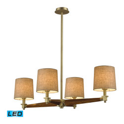 Elk Lighting - Jorgenson LED 4-Light Chandelier in Mahogany and Satin Brass - The Jorgenson Collection stylishly bridges the gap between mid-century modern furniture design and lighting. This collection was designed using solid wood that emulates the tapered angle of fine furniture legs and angular metalwork that compliments its sleek style. Choose between two combinations of taupe wood, polished nickel metalwork and champagne fabric shades, or mahogany finished wood, satin brass metalwork and tan crosshatch textured linen shades. - LED, 800 lumens (3200 lumens total) with full scale dimming range, 60 watt (240 watt total)equivalent, 120V replaceable LED bulb included.