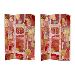Oriental Unlimted - 3-Panel Avant-Garde Collage Canvas Room Divid - One double-sided divider, both sides shown in image. An exclusive modern, contemporary Avant-garde style collage art design. Unique shapes and vital colors. Elegant Gold, beautiful vermillion, intriguing flower prints and archaic Chinese characters printed on both sides. Great for dividing space or dressing behind. Sturdy kiln dried Spruce wood frames, with tough, art quality canvas on both sides. Each panel: 15.75 in. W x 70.88 in. H. Base weight: 8.25 lbs.