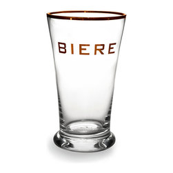 'Biere' Highball Glass With Gold Rim - Bold and elegant in its gold trim, this Highball Glass from the Biere collection makes a strong statement in upscale home bars and handsome dining rooms. Perfect for adding a hint of metallic sumptuousness to a sideboard while keeping the look strong and clean-lined, this lettered highball has a thick, sturdy bottom for muddling and a shape suited to perfect pours.