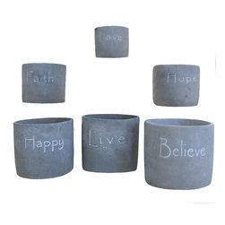 Life is Grand Cachepot Set of 6 - Perfect for displaying petite blossoms or fresh herbs, the Life is Grand Cachepot Set offers charming appeal for your home d̩cor. These lovely accents showcase inspiring words while adding chic style to your sunroom or breakfast nook.