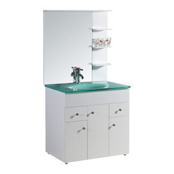 """Legion Furniture - Legion Furniture 32 Inch Single Bathroom Vanity - This 32 inch modern single sink bathroom vanity is a perfect center piece for your bathroom project.  This White single sink bathroom vanity features 3 Doors, 2 Drawers; Soft Close Hinges , and a Tempered Glass with Integrated Sink that is pre-drilled for a standard single hole faucet (faucet not included). Large opening in back for easy plumbing installation. Dimensions: 31.5""""W X 20.5""""D X 33.5""""H; Counter Top: Tempered Glass with Integrated Sink; Finish: White; Features: 3 Doors, 2 Drawers; Soft Close Hinges; Hardware: ; Sink(s): Integrated Glass Sink; Faucet: Pre-Drilled for Single Hole Faucet (Not Included); Assembly: Fully Assembled; Large cut out in back for plumbing; Included: Cabinet, Sink, Mirror (31.5""""W X 2""""D X 35""""H); Not Included: Backsplash, Faucet"""