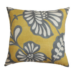 "The Pillow Collection - Talin Floral Pillow Gray Yellow - Give your living space an update just in time for summer with this captivating accent pillow. This square pillow features a floral pattern in shades of gray, white and yellow. The timeless design adds a unique finishing touch to your living room or bedroom. This 18"" pillow is made of 100% soft and high-quality cotton material. Hidden zipper closure for easy cover removal.  Knife edge finish on all four sides.  Reversible pillow with the same fabric on the back side.  Spot cleaning suggested."