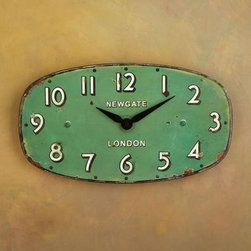 Greengage Wall Clock - My favorite thing about this clock (besides the greenish-blue color) is the shape — oh, and the lettering, and I like the vintage vibe it gives off. Okay, I love everything about it.