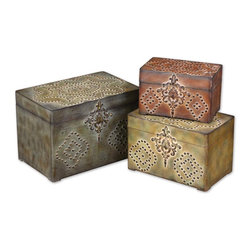 "Uttermost - Uttermost Hobnail Weathered Boxes, Set of 3 20394 - These decorative boxes are finished in a combination of weathered reds, mossy greens and sandy browns with gold and burnished black details. Small size: 10""W x 6""H x 6""D, Medium size:ium size: 12""W x 8""H x 8""D, Large size: 15""W x 10""H x 10""D."