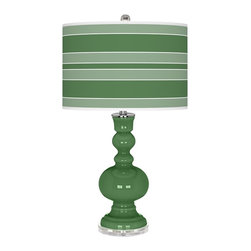 """Color Plus - Contemporary Garden Grove Bold Stripe Apothecary Table Lamp - This apothecary style Color + Plus™ glass table lamp will infuse your decor with brilliant color and style. This beautiful Garden Grove designer lamp is hand-crafted by experienced artisans in our California workshops. It stands on a clear base and is topped with a custom made-to-order shade that features a Bold Stripe pattern in rich color tones that complement the base hue. U.S. Patent # 7347593. Designer Garden Grove glass table lamp. Bold Stripe pattern giclee-printed shade. Custom made-to-order translucent drum shade. Clear base. Maximum 150 watt or equivalent bulb (not included). On/off switch. 30"""" high. Shade is 16"""" across the top 16"""" across the bottom 11"""" high.   Designer Garden Grove glass table lamp.  Bold Stripe pattern giclee-printed shade.  Custom made-to-order translucent drum shade.  Lucite base.  Maximum 150 watt or equivalent bulb (not included).  On/off switch.  30"""" high.  Shade is 16"""" across the top 16"""" across the bottom 11"""" high."""