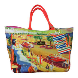 Frontgate - Seaside View Printed Tote Bag - Frontgate - Unique artisan design. Wide, open top with a snap closure for easy access. Thick cotton handles. Easy-clean interior free of a liner. ID keychain attaches to handle. A picture of 1940s-era coastal glamour might entice you to grab the essentials and find your getaway. Our Seaside View Printed Tote Bag is made from rugged, high-quality cotton canvas and amply sized, with a large main compartment. Quickly stash sunglasses or a water bottle in the two spacious exterior side pockets, and tuck away keys and other small valuables in the interior zipped pocket.  .  .  .  .  . Metal feet protect bottom of bag . Imported.