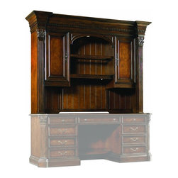 Hooker Furniture - Hooker Furniture European Renaissance II Computer Credenza Hutch - With this beautiful credenza hutch, you're sure to have the whole home office package. The handsome Computer Credenza Hutch comes with many useful features. Features: Material: Hardwood Solids, Myrtle Burl, Clear Maple, Walnut & Cherry Veneers. Style: Traditional. Two doors, one adjustable shelf, one stationary shelf and charging station behind left door. Two adjustable shelves behind right door. One wood-framed adjustable glass shelf and one stationary shelf in center. One canister light operated by three-intensity touch switch, task light. Stained top. Finish: Dark, Rich Brown Finish with Some Physical Distressing.