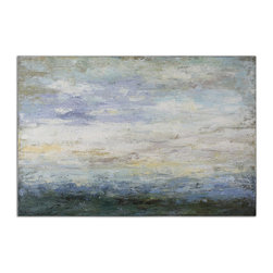 Uttermost - Free Fall Hand Painted Art - Stare into this hand-painted piece and you may find serenity and calm that we all crave in this hectic thing we call life. The soothing palette and textured canvas, create a wintry light tableau or perhaps a seascape … you decide.