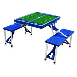 "Picnic Time - University of Illinois Picnic Table Sport in Blue - Picnic Time's portable Picnic Table is a compact fold-out table with bench seats for four that you can take anywhere. The legs and seats fold into the table when collapsed so the item is easy to store and transport. It has a maximum weight capacity of 250 lbs. per seat and 20 lbs. for the table. The seats are molded polypropylene with a basket weave pattern in the same color as the ABS plastic table top. The frame is aluminum alloy for durability. The Picnic Table is ideal for outdoor or indoor use, whenever you need an extra table and seats. It includes a hole in the center of the table to accommodate a standard sized beach umbrella (having a pole that is 1.25"" diameter or less). Pair it up with Picnic Time's multi-colored stripe Umbrella (812-00-996) or solid colored Umbrella 5.5 (822-00) in red, green, blue or black, sold separately.; College Name: University of Illinois; Mascot: Fighting Illini; Decoration: PT Sports"