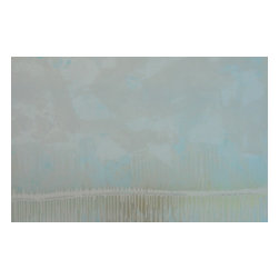 "Pontchartrain Series: ""Charmed"" by Austin Allen James, 20x24 - From his Pontchartrain Series, Austin Allen James brings us ""Charmed."" This hazy abstract painting evokes a misty morning looking out across a watery horizon. Subtle layers of smoky white, sky blue and metallic gold invite movement and lyricism to the piece, for which the artist is well known. This mixed media painting on board is coated with a resin clear coat to preserve and enhance the complex layers of this one of a kind abstract. The glossy surface invites the viewer to experience the artwork ""through a looking glass."" This tranquil and meditative painting can easily serve as the foundation of a well appointed roomscape. Choose the ""Charmed"" style in the size of your choosing, with a 2"" depth. Each painting is made to order; inherent variations make each piece it's own unique treasure. Learn more about the artist in his feature as a Moss Manor 2014 Guest Curator."
