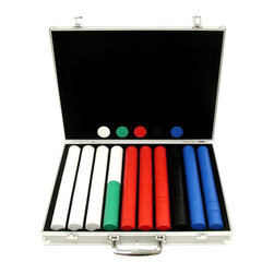 Trademark Poker - 1000 Super Diamond Chips in Aluminum Case - Listen for the unique sound these high quality clay composite chips make as you ante up.  The five-color set includes a full 1000 chips so there's plenty for a large group to play.  They store neatly into the attractive felt-lined carrying case which features a lustrous textured aluminum finish.  This deluxe poker set is amazingly affordable and is the perfect standard set for any game room. Includes chip case and 1000 chips. Chip case will provide the most protection for your investment. Black felt interior with space for 1000 chips. Securely riveted handles for long lasting use. Chip case that will last a lifetime. Case is made of heavy duty, lightweight aluminum in brilliant silverThese 1000 Casino Clay Composite Poker Chips with Aluminum carrying case are great for any party. These are the real thing, a 8-Gram clay composite chip. These chips feel good when you hold them. When they splash the pot, you will know by the sound you have a quality chip. Great for blackjack, roulette, or any gaming arena.Playing cards depicted are subject to change without notice. It is at our discretion to replace playing cards with a similar product of equal or higher quality at any time. The color and quantity of chips shown are the most popular and have been pre-selected for you, however, you can make changes per your requirements.