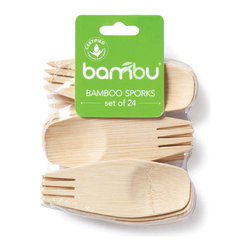 Bambu - Bambu Veneerware Bamboo Spork - 24 pack - Eat on the go often? Then make sure you stock up with this 24 pack of bamboo sporks, which feature a spoon on one side and a fork on the other so you can deftly switch from cereal to salad. Best of all, they're biodegradable and compostable, so you can return this renewable resource back to the earth knowing you're doing your part to help the environment.