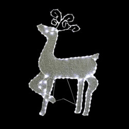 Alpine - Standing Reindeer with 144 LED Lights Decoration - 35 inch - Feel the Christmas Spirit magically with these standing raindeer decors. It has outline lines and are so easy to assemble and keep after the season.Features: