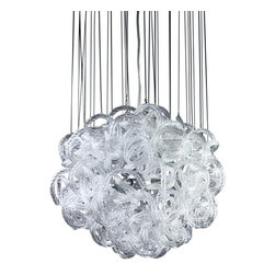 Viz Glass, Inc. - Infinity Chandelier, Clear - Add instant elegance to your home with the Infinity Chandelier. This unique piece is handblown from Italian Glass and features a round tangle of textured clear glass strands hung from a chrome hardware base. Variations may occur in individual pieces. Maximum height is 74 inches. Includes nine 40 watt candelabra bulbs. UL listed. Hardwire; professional installation recommended.