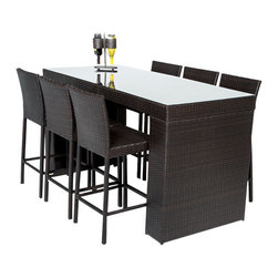TKC - Bar Table Set With Barstools 7 Piece Outdoor Wicker Patio Furniture - Simple, affordable and beautiful, our Bar Set is designed for ultra-comfortable outdoor dining. Table is topped with tempered glass and bar stools store neatly under the table.