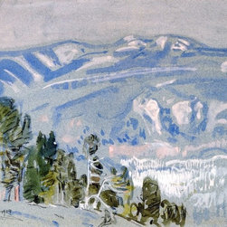 "Frederick Childe Hassam Looking Towards Mount Adams from Mount Hood - 16"" x 24"" - 16"" x 24"" Frederick Childe Hassam Looking Towards Mount Adams from Mount Hood premium archival print reproduced to meet museum quality standards. Our museum quality archival prints are produced using high-precision print technology for a more accurate reproduction printed on high quality, heavyweight matte presentation paper with fade-resistant, archival inks. Our progressive business model allows us to offer works of art to you at the best wholesale pricing, significantly less than art gallery prices, affordable to all. This line of artwork is produced with extra white border space (if you choose to have it framed, for your framer to work with to frame properly or utilize a larger mat and/or frame).  We present a comprehensive collection of exceptional art reproductions byFrederick Childe Hassam."