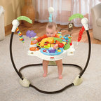 Fisher-Price - Luv U Zoo Jumperoo - Features: -Seat is height adjustable.-Product has a soft goods seat that rotates 360 degrees providing spinning fun for the child.-Springs are attached to a freestanding frame.-Incorporates lights and sounds which help entertain the child and rewards them for their jumping.-Seat is removable for easy cleaning.-3 AA size batteries (sold separately).-Collection: Luv U Zoo.-Product Type: Bouncer.-Distressed: No.-Non Toxic: Yes.-Lifestage: Baby.-Foldable: No.-Musical: Yes.-Power Swinging: No.-Battery Operated: Yes -Battery Type: AA.-Batteries Included: No..-Lights: Yes.-Toys Included: Yes.-Snack Tray: No.-Lightweight: No.-Canopy: No.-Harness: No.-Adjustable Seat: No.-Removable Seat: Yes -Machine Washable : Yes..-Padded Seat: No.-Swivel Seat: Yes.-Adjustable Height: Yes.-Wheels: No.-Doorframe Assembled: No.-Outdoor Use: No.-Weight Capacity: 25.-Swatch Available: No.-Commercial Use: No.-Recycled Content: No.-Eco-Friendly: No.Dimensions: -Overall Height - Top to Bottom: 32.-Overall Width - Side to Side: 33.-Overall Depth - Front to Back: 33.-Overall Product Weight: 17.Assembly: -Assembly Required: Yes.-Additional Parts Required: No.