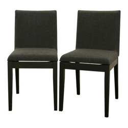 Wholesale Interiors - Square Modern Dining Chair - Set of 2 - Don't let the simplicity of the Moira Dining Chair fool you - sharp, clean details fill every inch. Delight in the sturdy solid rubber wood construction, an eco-friendly option for furniture. Each chair is made of black wood with dark gray/black twill seats with foam cushioning. Adding to the modern design is an intentional gap between the chair seats and their wooden bases, creating an illusion of a floating seat. This chair is also available in brown, and both colors have matching tables (all not included).
