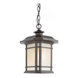 Joshua Marshal - One Light Black Tea Stained Linen Glass Hanging Lantern - One Light Black Tea Stained Linen Glass Hanging Lantern