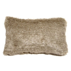 Pillow Decor - Pillow Decor - Tundra Hare Faux Fur 12 x 20 Throw Pillow - With coloring similar to the summer molt of the Tundra Hare, this grayish brown faux fur throw pillow is perfect as a soft, subtle addition to you sofa, sectional or cozy nook. A one inch fur length makes this an exceptionally plush and luxurious pillow.