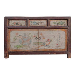 Golden Lotus - Mongolian Antique Hand Painted Buffet Table TV Stand Cabinet - This is a Mongolian antique buffet cabinet which is made of solid elm wood.  It can be also used as TV stand cabinet.