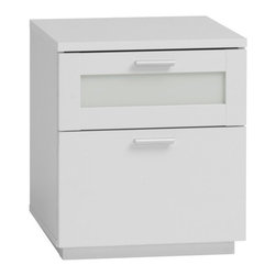 Tvilum - Chelsea 2 Drawer Nightstand - Features: -Portland Bedroom collection. -White finish. -Contemporary style. -Two drawers. -White tempered glass. -Weight limit for top shelf: 22.04 lb. -Clean with damp cloth. -ISTA 3A certified.