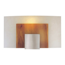 "George Kovacs - George Kovacs 11"" Wide Contemporary Fluorescent Wall Sconce - From George Kovacs comes this sleek and stylish fluorescent wall sconce. The wall light features a brushed nickel finish. Art glass is made to look like wood with a frosted glass behind it giving the sconce a soft glow. ADA compliant. Takes one 13 watt spiral 4-pin fluorescent bulb (not included). 11"" wide. 6"" high. Extends 4"" from the wall.  Brushed nickel finish.  Design by George Kovacs.  Art glass.  Includes one 13 watt spiral 4-pin fluorescent bulb.  11"" wide.  6"" high.  Extends 4"" from the wall.  ADA compliant wall sconce."