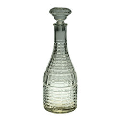 Lavish Shoestring - Consigned Glass Wine Decanter with Basket Imitation, Vintage English, 1930s-40s - This is a vintage one-of-a-kind item.