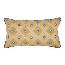 """Villa Home - Pair of Mediterraneo Piazza Gold Pillows by Villa Home - The dynamic color combination on the Mediterraneo Piazza Gold Pillows by Villa Home is striking and modern. Ikat-like diamonds are printed on 100% linen fabric. Layer in front of bed shams or within a playful collection on the living room sofa. (VH) Sold as a pair. Feather down inserts included. 26"""" wide x 14"""" high"""